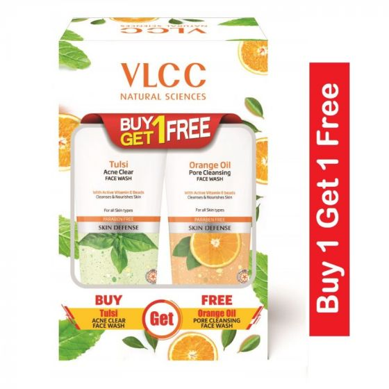 Vlcc Tulsi Acne Clear Face Wash + Free Orange Oil Pore Cleansing Face Wash- (150ml Each)