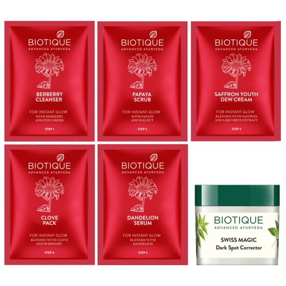 Biotique Party Glow Facial Kit for Instant Glow With Swiss Magic Dark Spot Corrector