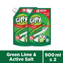 Giffy Green Lime & Active Salt Concentrated Dish Wash Gel (Pack of 2) - 900ml