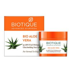 Biotique Bio Aloe Vera 30+ SPF UVA/UVB Sunscreen Ultra Soothing Face Cream, 50ml